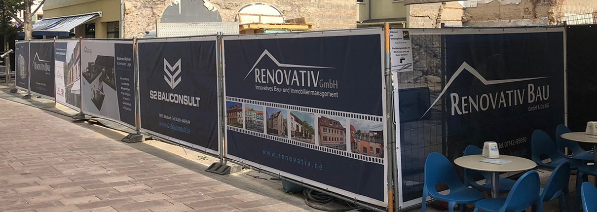 RENOVATIV Banner - Bauzaun Mannheimer Straße in Schwetzingen
