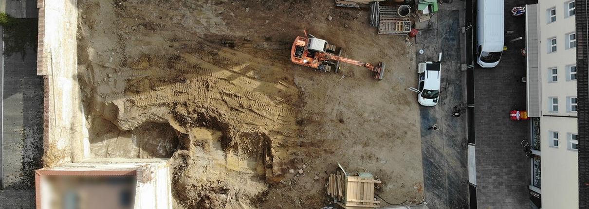 Luftaufnahme der Baustelle Mannheimer Straße in Schwetzingen