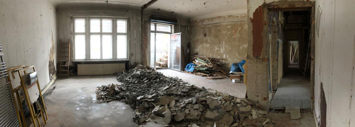 Sanierungs- und Umbauprojekt in Berlin, Abrissarbeiten im Innenbereich