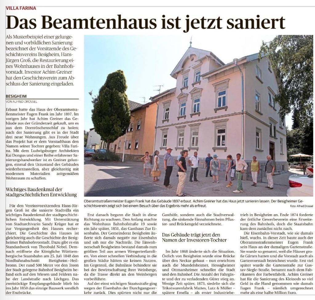 Zeitungsartikel der LKZ über die Sanierung der Villa Farina in Besigheim